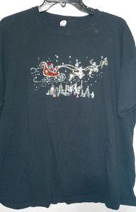Black Santa Sleigh Reindeer Jeweled Tshirt Sz 3X